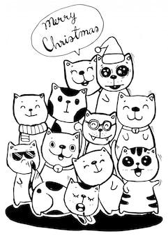 Colorazione dell'illustrazione di scarabocchi di stile di cat characters per i bambini Vettore Premium