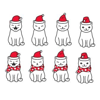 Gatto natale carattere cartone animato gattino illustrazione