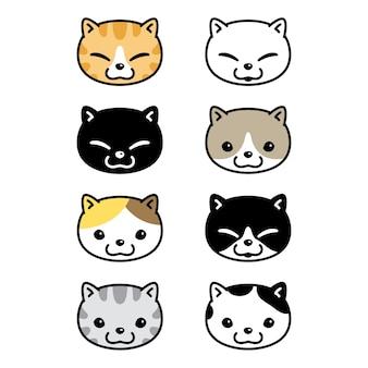 Illustrazione della testa del fumetto del carattere del gattino di natale del gatto