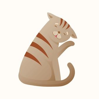 Gatto che si pulisce rilassato e pacifico. cartone animato animale domestico, pulito e semplice. gattino sveglio che lecca pelliccia, animale domestico rilassato e felice. cartone animato.