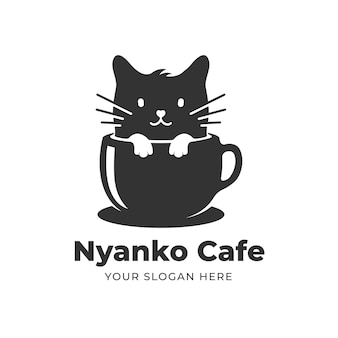 Gatto in una tazza di caffè logo design
