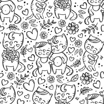Mani della holding delle coppie del gatto. modello senza cuciture monocromatico disegnato a mano del fumetto
