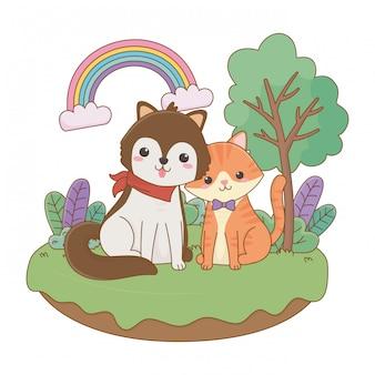 Illustrazione di clipart del fumetto del cane e del gatto