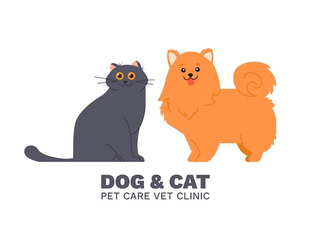 Gatto e cane, illustrazione della clinica veterinaria per la cura degli animali domestici