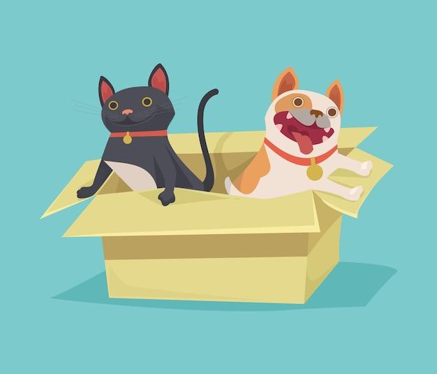 Gatto e cane che si siedono nell'illustrazione della scatola di cartone