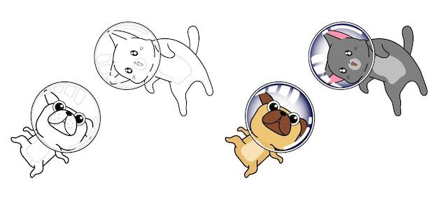 Gatto e cane nella pagina di colorazione del fumetto di spazio per i bambini