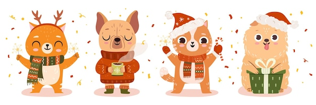Gatto, cani in brutti maglioni natalizi. set di animali domestici in abiti natalizi invernali. illustrazione piatta vettoriale