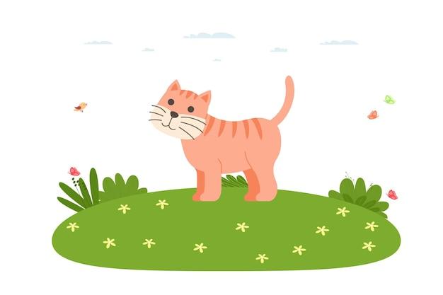 Gatto. animale domestico e da fattoria. il gatto dello zenzero cammina sul prato. mammifero della famiglia felina dell'ordine dei predatori. illustrazione di vettore nello stile piano del fumetto.
