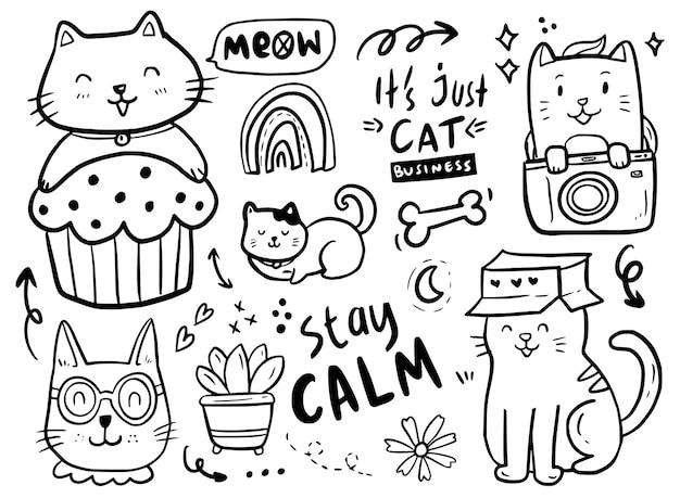 Collezione di disegni doodle gatto con scatola di carta