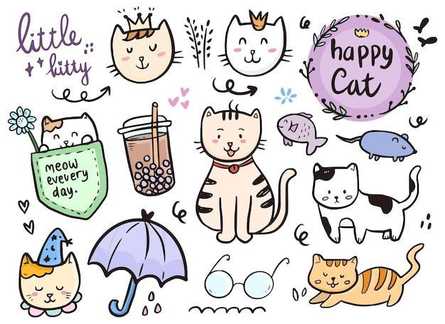 Collezione di doodle di disegno gatto con bevanda boba e icona dell'ombrello