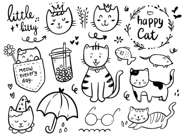 Collezione di doodle di disegno gatto con bevanda boba