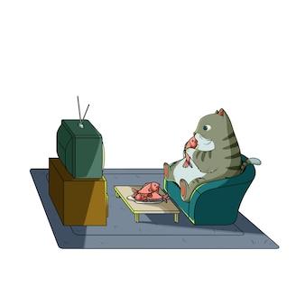 Gatto che mangia pesce e guarda la tv