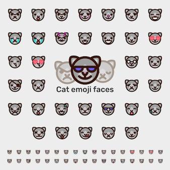 Facce di emoji di gatto