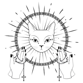 Cat face praying hands holding a rosary.