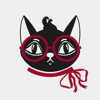 Faccia di gatto con gli occhiali e un fiocco rosso sul collo dell'animale.