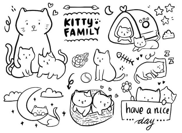 Insieme del disegno del profilo di doodle della famiglia del gatto Vettore Premium