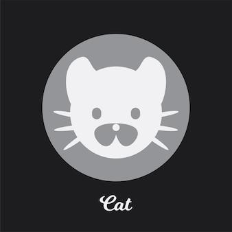 Disegno dell'icona piatto del gatto, elemento simbolo del logo