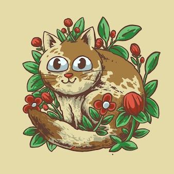 Disegno dell'illustrazione del fiore del gatto