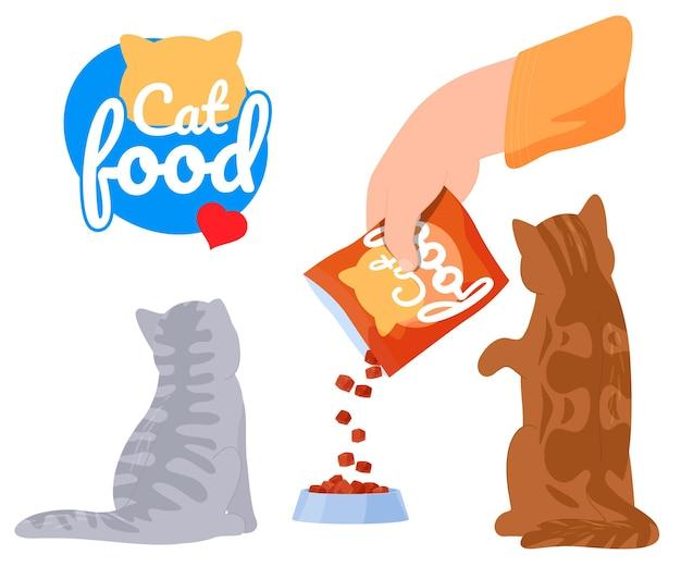 Cibo per gatti, alimentazione per gatti, logo di cibo per gatti.