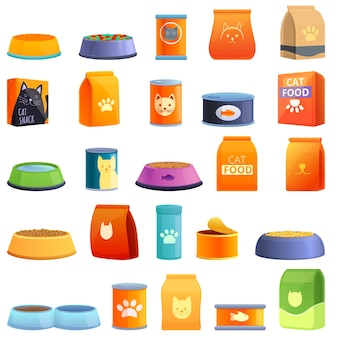 Set di icone di cibo per gatti. insieme del fumetto delle icone di cibo per gatti per il web
