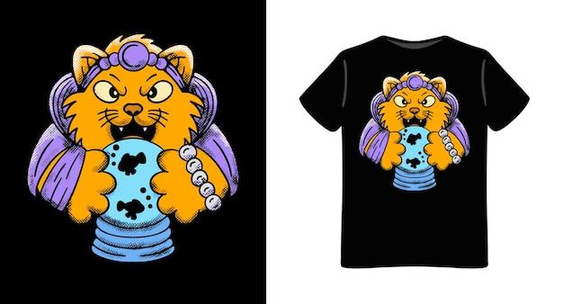 Disegno della maglietta dell'illustrazione del carattere del cassiere di fortuna del gatto