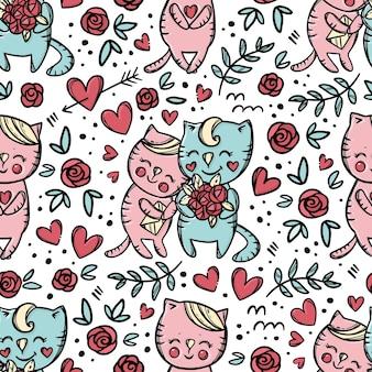 Il gatto dà il bouquet alle rose alla sua ragazza che tiene la lettera e sorride. modello senza cuciture variopinto disegnato a mano del fumetto di giorno di san valentino