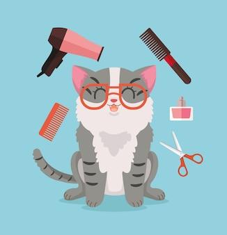 Toelettatura del gatto illustrazione felice del carattere del gatto