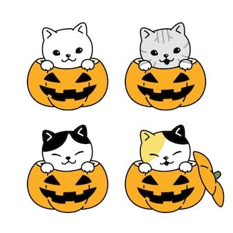 Illustrazione del personaggio dei cartoni animati del gattino della zucca di halloween del gatto