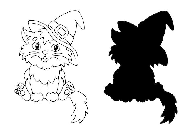 Il gatto con il cappello tema di halloween pagina del libro da colorare per bambini
