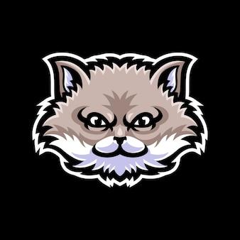Modello di logo mascotte testa di gatto