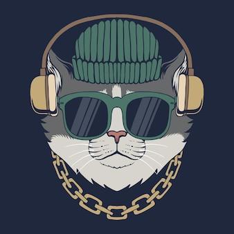 Illustrazione di vettore delle cuffie del gatto
