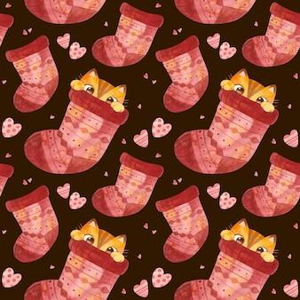Gatto nascosto nel calzino di natale gattino carino ed elementi a maglia modello senza cuciture invernale acquerello