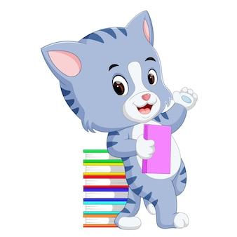 Libro della holding del gatto