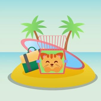 Illustrazione di vacanza del gatto Vettore Premium