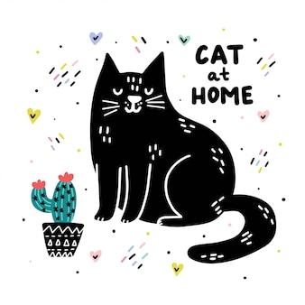 Stampa divertente gatto a casa con scritte disegnate a mano.