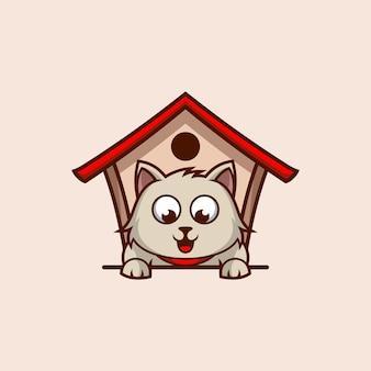 Modello di logo della casa del gatto