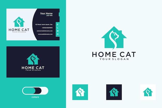 Design del logo della casa del gatto e biglietto da visita