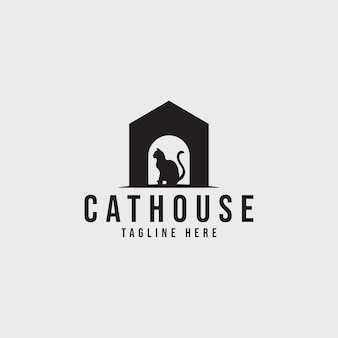 Vettore del logo del logo della casa del gatto per il negozio di animali