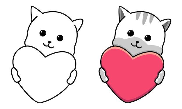 Gatto abbraccio cuore rosso pagina da colorare per bambini
