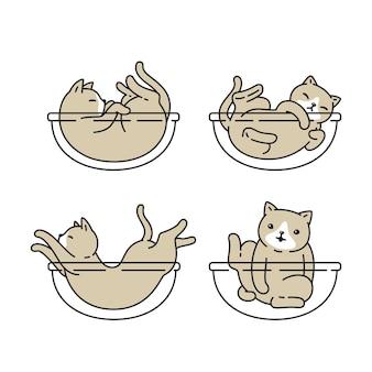 Fumetto del carattere dell'icona del gatto