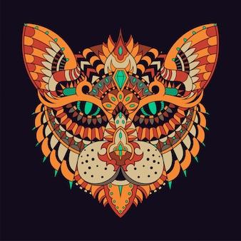 Cat illustration, mandala zentangle