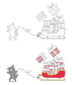 Il gatto sta disegnando facilmente un fumetto della slitta da colorare
