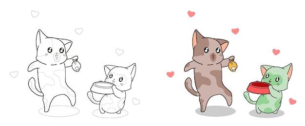 Il gatto sta alimentando la pagina da colorare del gatto del bambino per i bambini