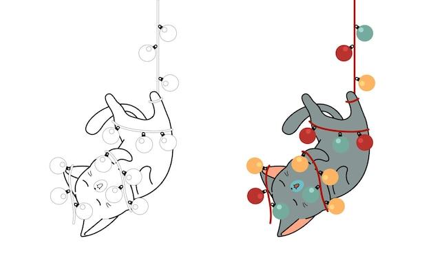 Il gatto è impiccato con il fumetto del filo elettrico facilmente pagina da colorare per i bambini