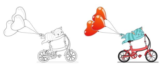 Il gatto sta andando in bicicletta con la pagina da colorare dei cartoni animati di palloncini cuore per i bambini