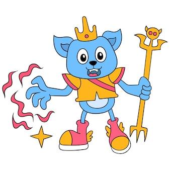 Il re del gatto che tiene la bacchetta magica lancia la magia, l'arte dell'illustrazione vettoriale. scarabocchiare icona immagine kawaii.