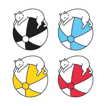 Razza di doodle del personaggio dei cartoni animati di sport del pallone da spiaggia del calicò del gattino del gatto