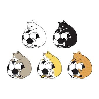Razza di doodle del personaggio dei cartoni animati di sport di calcio della palla di calcio del calicò del gattino del gatto