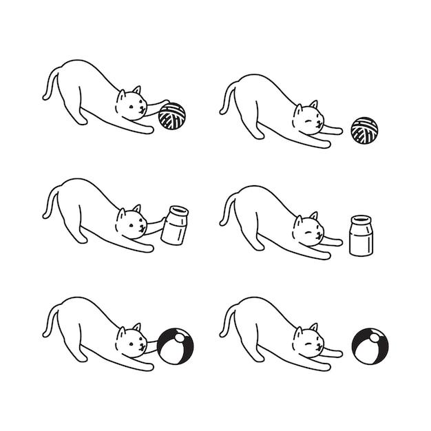 Doodle del fumetto del carattere della sfera del filato dell'animale domestico del filato del gattino del gatto
