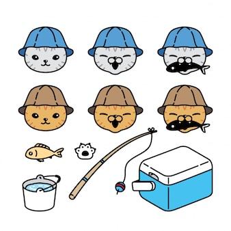Personaggio dei cartoni animati del pescatore di pesca del gattino del gatto